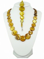 Souprava bižuterie náhrdelník a náramek perleť 20029 Hnědá 20029
