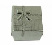 Dárková krabička papírová 4x4cm lesk 9138 Stříbrná 9138
