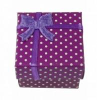 Dárková krabička papírová puntík 4x4cm 9132 Fialová 9132
