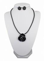 Soupravy bižuterie náhrdelník a náušnice růže na kůži 2886 Černá 2886