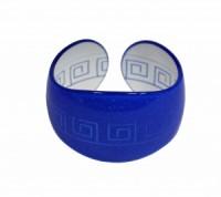 Náramek pevný tvrzený plast řecký motiv 41196 Modrá 41196