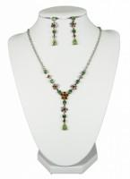 Soupravy bižuterie náhrdelník a náušnice zelenohnědá 2561 2561