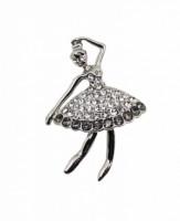 Brož se štrasovými kamínky baletka / tanečnice 5647 Stříbrná 564
