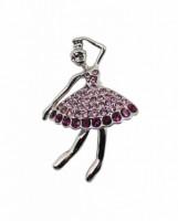 Brož se štrasovými kamínky baletka / tanečnice 5647 Fialová 5647
