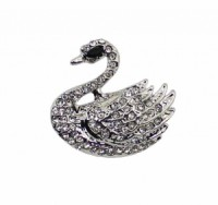 Brož se štrasovými kamínky labuť 5644 Stříbrná 5644