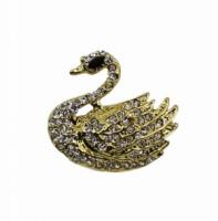 Brož se štrasovými kamínky labuť 5644 Zlatá 5644