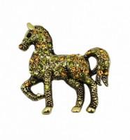 Brož se štrasovými kamínky kůň 5646 Zlatá 5646