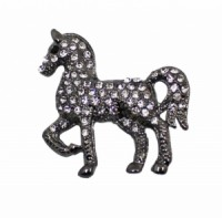 Brož se štrasovými kamínky kůň 5646 Černá 5646
