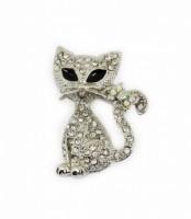 Brož se štrasovými kamínky stříbrná kočka 5690-4 5690-4