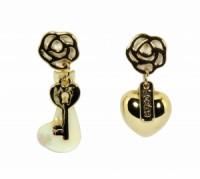 Náušnice klíč a srdce 32075 Zlatá 32075